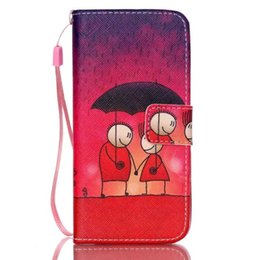 Wholesale Iphone 5c Cartoon - Stand Style hand strap Magnet Flip Wallet Cover Leather Cartoon Paiting Pattern Soft Case for iphone 5 5s 5c 4s 6 6s plus