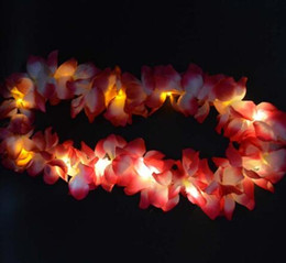 Wholesale Hawaii Wreath - Light LED Glow Hawaii Luau Party Flower Lei Necklace Hula Garland Wreath Decor Party 10-LEDs Christmas New Year