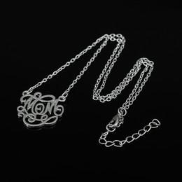 Wholesale Monogram Necklaces Wholesale - Popular Style Zinc Alloy Monogram Engraved Word Mom Pendant Necklace Jewelry