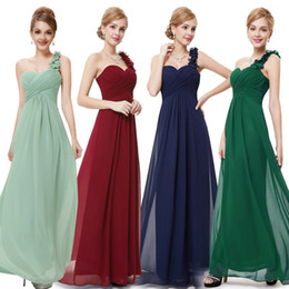 Wholesale More Dresses Evening - Elegant Fuschia Turquoise Bridesmaid Dresses Of Chiffon Backless One Shoulder Pleatsred Long Formal Dresses evening 2015 More Color New