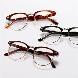 Wholesale Half Frame Nerd Glasses - Vintage Unisex Mens Womens Half Frame Glasses Metal Frame Clear Lens Nerd Eyewear Freeshipping