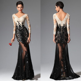 Wholesale Saab V Dress - Black White Mermaid Lace Evening Dresses 2018 Elie Saab V Neck Sheer Illusion Long Sleeves Sequined Prom Dresses Evening Wear Gowns