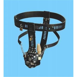 Wholesale Anal Toy Lock - Locking Male Chastity Belt Bondage Adjustable Black Leather Rivet With Anal Plugs BDSM Thigh Bondage Adult Sex Toys for men CJ2622