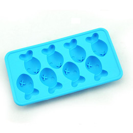 Wholesale Fish Holes - 2015 NEW Creative ice cube ice tray fish mould silicone mold ice fish shaped ice tray cube mold 8 hole ice scream make