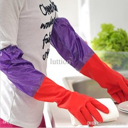 Wholesale Velvet Extensions - T plus velvet warm rubber dishwashing gloves, household gloves, latex cleaning gloves wholesale extension