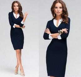 Wholesale Dresses Work Design - Women Dress Deep V Neck Patchwork Design 3 4 Sleeve New Fashion Causal Dress For Office Work Female Ladies bandage Dress ZJ1179