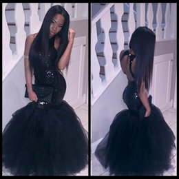 Wholesale Cheap Classic Corset Prom Dresses - Sparkly Black Girls Mermaid African Prom Dresses 2018 Halter Neck Sequins Tulle Sexy Corset Formal Dress Cheap Party Pageant Gowns