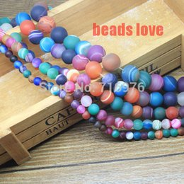 Wholesale Dull Agate - Wholesale-New wholesale 4 6 8 10 12 14mm Mixed color Dull Polish Matte Striated Agate Round Beads Free Shipping F00130