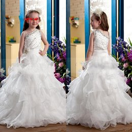 Wholesale One Shoulder Beaded Flower Girl - Ball Gown Tiered Flower Girls Dresses Ruffles One Shoulder Beaded Organza Girls Pageant Dresses Teens Evening Prom Gowns For Childrens Girls