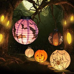 Wholesale Paper Lanterns Holiday Sales - Wholesale-Hot Sale Halloween LED Paper Pumpkin Ghost Hanging Lantern Light Holiday Party Decor Free Shipping