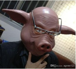 Wholesale Halloween Pig Costume - Hot selling latex adult size full head cute pig animal halloween mask for cosplay and costume top sale free shipping