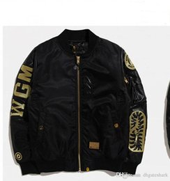 Wholesale Mouth Slimmer - New Men's Black Shark Mouth Gold Thread Embroidery Thickening Cotton Clothing Jacket MA1 Air Force Jacket Men's Casual Cardigan Ja
