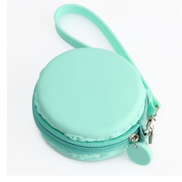 Wholesale Waterproof Key Pouch - Macaron Cute Girl Coin Purse Zipper Cookie Cake Waterproof Women Lady Mini Silicone Cartera Round Wallet Key Money Pockets Pouch