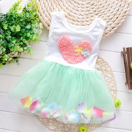 Wholesale Dress Neck Heart - Summer kids clothes lace heart sleeveless colour petal princess dresses Baby Tutu Dresses Kids Vest Princess Dress 4p l