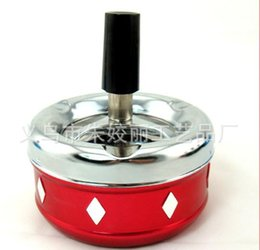Wholesale New Automatic Cleaner - free shipping ----- 2015 new A press automatic rotary cleaning   shiatsu rotary cleaning metal ashtray, 8*8*8.5cm, color random delivery