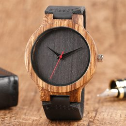 Wholesale Handmade Tags - Top Gift Wood Watches Men's Unique 100% Nature Wooden Bamboo Handmade Quartz Wrist Watch Male Sport Red Hands Clock for men wholesales