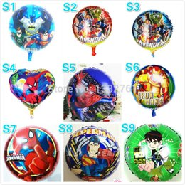 Wholesale Cartoon Super Heroes - Wholesale-Super hero balloon asst 50PCS 18inch ben10 justise league avengers foil ballon many hero Baloons for childrens party decoration