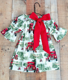 Wholesale Christmas Tree Tutu Dress - 2018 Christmas Dresses for Girls Boutique Baby Clothing Tree Car Printed Flower Girl Dress Ruffle Sleeve Kids Dress Baby Girls Clothes