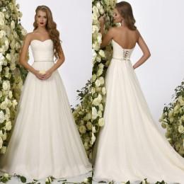 Wholesale Empire Waist Corset Dress - Beach Wedding Dresses 2016 Crystal Design Bridal Strapless Corset Beaded Waist Ruffled Tulle Garden A Line Wedding Gowns Cheap