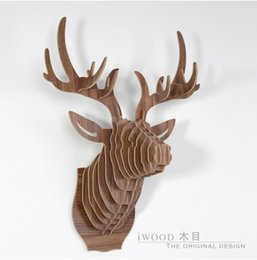 Wholesale Wooden Carvings Wall Art - Top fashion European carved wooden DIY deer head,Nordic wall art,home decoration,novelty gift animal head wood crafts wall decor