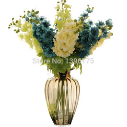Wholesale Silk Hyacinth Flowers - 10pcs lot Silk Delphinium Flowers Hyacinth with Leaves Real Touch Romantic Wedding Decoration Artificial Flowers Free Shipping