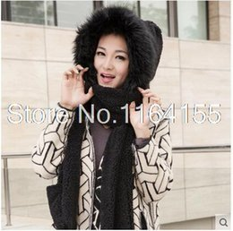 Wholesale Hat Scarf Conjoined Sets - Wholesale-Hat Scarf and Gloves Set Winter Ladies and Conjoined Bib Cute Double thick wool three one YT04