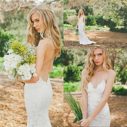 Wholesale Bride Dresses Open Back Mermaid - Super Sexy Open Back 2017 Lace Mermaid Wedding Gowns Spaghetti Straps Spring Summer Bridal Gowns Court Train Brides Dress Custom Made