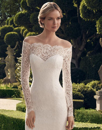 Wholesale Cheap See Through Corset - 2015 Exquisite Cheap Off Shoulder Knee Length Lace Long Sleeve Wedding Dresses Scalloped See Through Sheath Corset Short Wedding Gowns