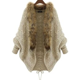 Wholesale Women Color Jackets - 2016 Winter New Cardigan Poncho Fur Collar Outerwear Women Sweater Knitted Brand Casual Knitwear Jacket Free Shipping XL15100702