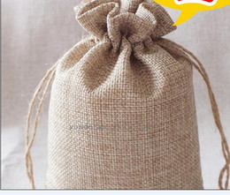 Wholesale Wholesale Jute Gift Pouches - 7*9cm Double layer high quanlity Natural Linen drawstring bags Jewelry Pouch Jute bags burlap package bags Gift hessian Wedding favor