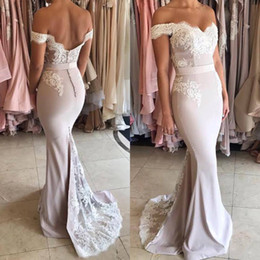 Wholesale Cheap Lace Mermaid Wedding Dress - Cheap Sexy Mermaid Sweetheart Bridemaid Dresses Off Shoulder Floor length Wedding Bride Party Dresses Pluse Size Lace Bridesmaid Party Gown