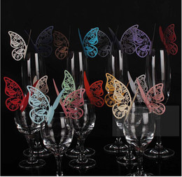 Wholesale Butterfly Wedding Toppers - 110*70MM Wine Glass Cards Wedding Party Decorations Wine Glass Markers Wedding Cake Toppers name card butterfly laser Cut Card Escort Card