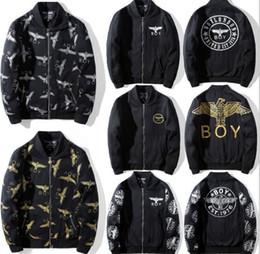 chaqueta punk más tamaño Rebajas DHL plus size M ~ 3XL Ventas Punk boy london Eagle bordado chaqueta de los hombres harajuku collar de pie bomber Kanye chaqueta Hiphop streetwear Outfitters
