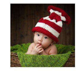 Wholesale Newborn Crochet Hat White - red and white stripes baby Empty top Hat ,NEWBORN HAT handmade knitting baby hat caps , newborn knitting photography props size:0-1m,3-4m