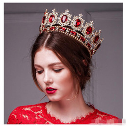 Wholesale Silver Queen Crown - Western Style Red Dimand Crystal Head Jewelry Princess Queen Wedding Party Hair Accessoradwear Baroque Bridal Crown Tiaras And Crowns