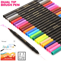 Wholesale Painting Tip - Premium 24 Colors Box Dual Tip Art Marker Pen Water Based 0 .4 Mm Fine Tip With Soft Brush Tip Markers For Sketch Drawing Painting tools