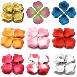 Wholesale white confetti - Wholesale- 1000 Pcs Wedding Scatter Confetti Table Party Silk Fake Rose Flower Petals