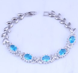 Wholesale Cm 925 - Aesthetic Blue Sky Topaz & Cubic Zirconia 925 Silver Plated Link Bracelet for Women Chain Length 20.5 CM S0400A Free Shipping & Jewelry Bag