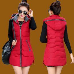 Wholesale Womens Long Vest L - Women Winter Vest Waistcoat 2017 Womens Long Vest Sleeveless Jacket Collar Hooded Down Cotton Thickening Keep Warm fashion Vest Female