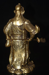 Wholesale God Japanese - Rare Chinese Famous Guan Gong Yu Warrior God Dragon Sword Brass Statue