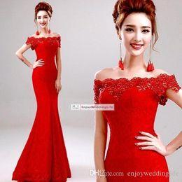 Wholesale Winter Soiree Dresses - Elegant Lace Mermaid Long Evening Dresses 2016 Crystal Beaded Red Black Blue Off the Shoulder Prom Party Dress Robe De Soiree Longue