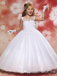 Wholesale Pure White Flower Girl Dresses - 2017 New Fashion Scalloped See Through Girls Pageant Dress Ball Gown Princess Tulle Lace Sequines White Children Pure Flower Girl Dresses