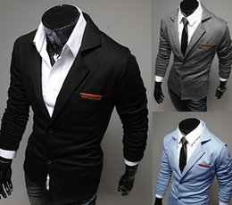 Wholesale Casual Blue Blazer - 2014 Hot sale Men's casual blazers Fashion turn-down slim knitted suit men
