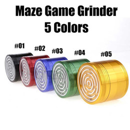 Wholesale Mm Aluminium - Maze Game Herb Grinder 63 MM Aluminium Alloy Four Layers Smoke Tobacco for Hookah Shisha Water Pipe Glass Bong 5 Colors #4389