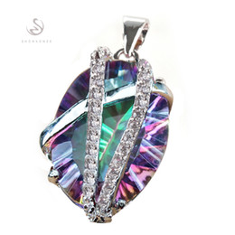Wholesale Celtic Wholesale Products - Fashion Rainbow Mystic stone and white Cubic Zirconia jewelry Romantic Silver Plated Pendants R3313 First class products Recommend Promotion