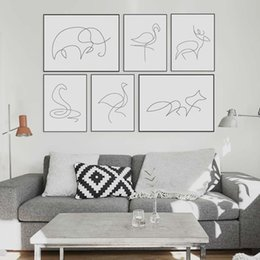 Wholesale Framed Horse Art Abstract - Modern Picasso Minimalist Animal Shape Canvas A4 Art Prints Poster Abstract Deer Horse Wall Picture Home Decor Painting No Frame