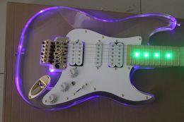 Wholesale Floating Bridge - Transparent acrylic body ST electric guitar with LED light,floating bridge,custom guitar shop,100% OEM guitars