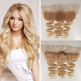 "Wholesale 16 613 Hair Pieces - Virgin Brazilian 613 Blonde Lace Frontal Closure 13x4 Bleached Knots hair Piece 10-20"" Body Wave Lace Frontals G-EASY"