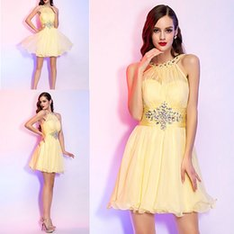 Wholesale Classic Details - A-line Princess High Neck Short Mini Chiffon Cocktail Dresses With Beading And Crystal Detailing Prom Evening Party Dresses