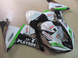 Wholesale Zx6r Tank - Tank cover+Motorcycle Fairing kit for KAWASAKI Ninja ZX6R 05 06 ZX 6R 2005 2006 ZX-6R 636 PLAYBOY White green ABS Fairings set+7gifts DC10
